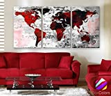 Original by BoxColors LARGE 30''x 60'' 3 Panels 30''x20'' Ea Art Canvas Print Watercolor Texture Map Old brick Wall color red black white decor Home interior (framed 1.5'' depth)