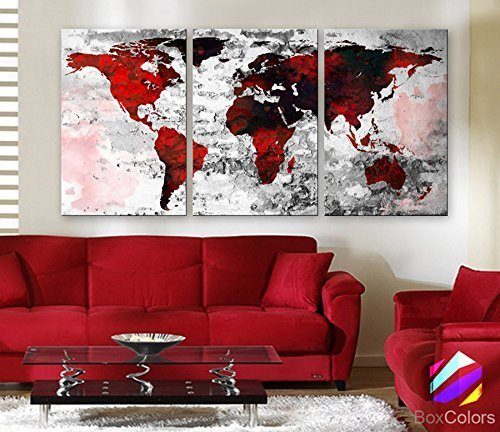 Original by BoxColors LARGE 30''x 60'' 3 Panels 30''x20'' Ea Art Canvas Print Watercolor Texture Map Old brick Wall color red black white decor Home interior (framed 1.5'' depth) by BoxColors