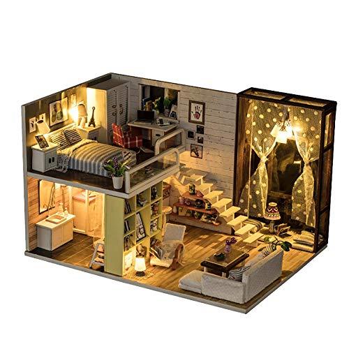 Dollhouse Miniatures, DIY Dollhouse Kit Mini Dollhouse Wooden Dollhouse 3D Dollhouse with Cover and Led Light Miniature Dollhouse Accessories for Friends Kids Christmas Birthday Gifts