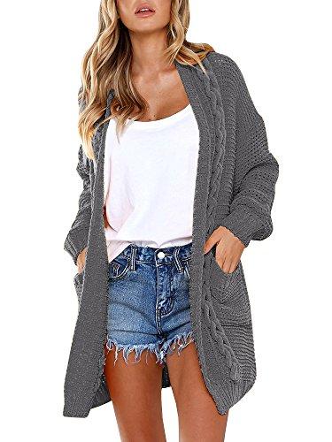 Women's Boho Long Sleeve Open Front Chunky Long Cardigans Pointelle Knit Boyfriend Oversized Sweaters Dark Gray ()