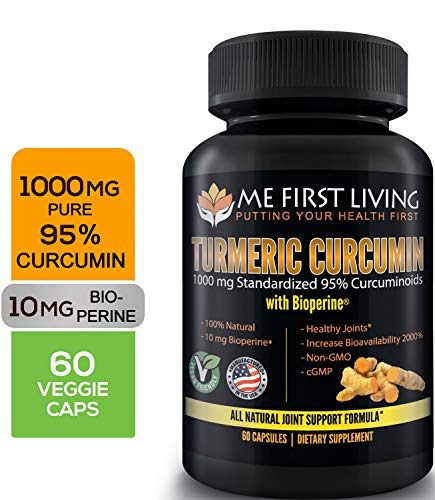 Me First Living Turmeric Curcumin 1000 mg 95% Curcuminoids, Bioperine 10 mg, 19x More Potent Than Others, Increased Absorption, Non-GMO, Organic Turmeric, Vegan, Gluten Free, 60 Capsules ()