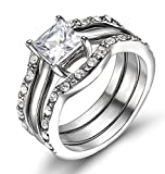 Best TIGRADE Cz Engagement Rings - TIGRADE Wedding Ring Set Black Stainless Steel Cushion Review
