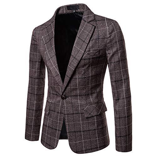 Men's Blazer Jacket Herringbone Sport Coat Smart Formal Dinner Cotton Suits Slim Fit One Button Notch Lapel Coat Dark Brown