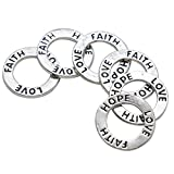 Buorsa 20 Pcs Circle Washer Charm Connector Affirmation Ring Jewelry
