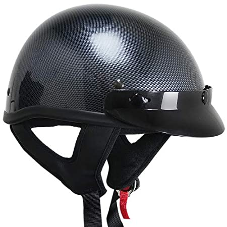 Carbon Outlaw T70 DOT Solid Carbon Color Design Half Helmet with Visor 2X-Large Outlaw Helmets T69-T70-Carbon-50556