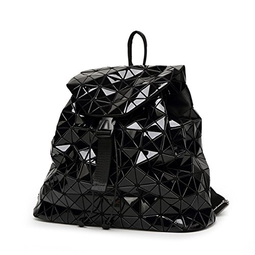 Cube Large Ling Black Japanese Handbags Laser Backpack Rubik's Folding Ge Backpack Travel Ms Patent Geometry Leather wqEazZZY