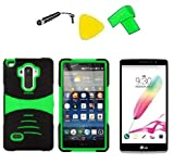 Heavy Duty Hybrid w Kickstand Phone Cover Case Cell Phone Accessory + LCD Screen Protector Guard + Extreme Band + Stylus Pen + Yellow Pry Tool For LG G Stylo LS770 / LG G4 Stylus H631 / LG G Stylo MS631 (S-Hybrid Black Green) -  ExtremeCases