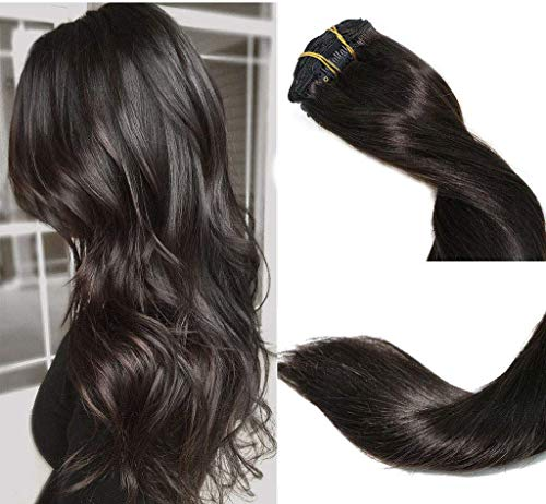 Clip In Hair Extensions Human Hair New Version Thickened Double Weft Brazilian Hair 120g 7pcs Per Set Remy Hair Natural Black Full Head Silky Straight 100% Human Hair Clip In Extensions(18 Inch #1B) from VARIO