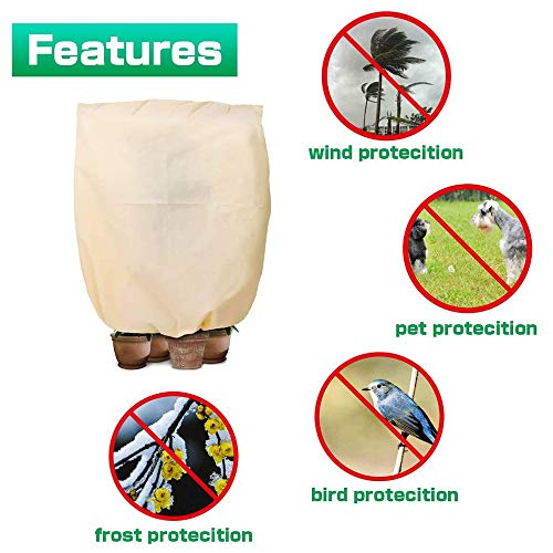 Winter Plant Frost Protection Cover, Rip Resistant Garden Plant Fleece Warming Jacket Plant Freeze Covers with Drawstring (100X80cm)