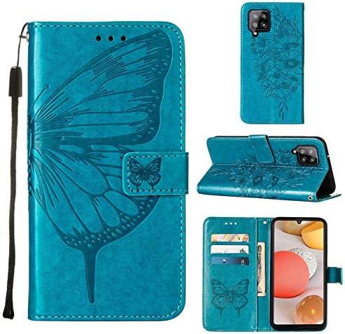TTNAO Hoesje Samsung Galaxy A42 5G Flip case Kaartsleuf patroon Cover Hoogwaardig PUleer Standaardfunctie Schokbestendige shell1SchermbeschermerIn relif gemaakte vlinder Blauw