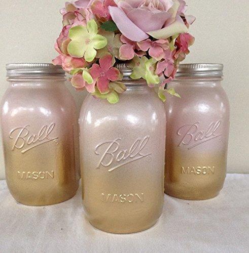Set of 3 Gold and Blush Pink Painted Mason Jars, Rustic Wedding Centerpieces, Shabby Chic Bridal Decor, Baby Shower Glass Flower Vase - Blush Wedding Shower Decor
