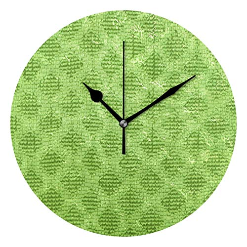 Dozili Lime Green Diamond Pattern Round Wall Clock Arabic Numerals Design Non Ticking Wall Clock Large for Bedrooms,Living Room,Bathroom