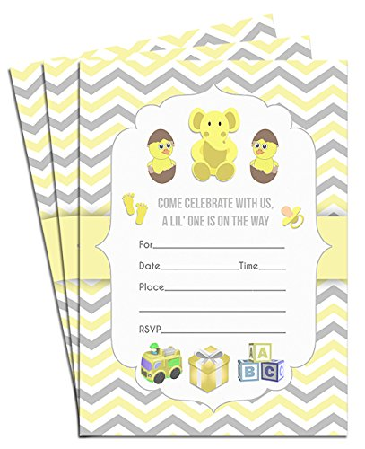 Baby Shower Invitations for It's a Girl or It's a Boy, Double-Sided 5x7 Yellow Baby Chicks, Elephants and Toy Theme Party Invitations with Envelopes (Pack of 25)