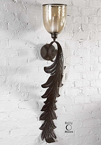 Tall Acanthus Leaf Baroque Wall Sconce | Ornate Candle Holder ()