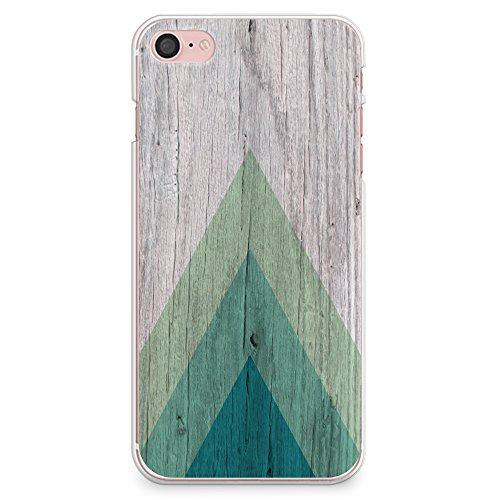 CasesByLorraine IPhone 8 Case 7 Wood Print Geometric Triangle Pattern Slim Hard Plastic Back Cover For Apple S01