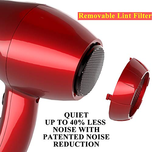 Professional Ionic Hair Dryer, Lightweight Powerful 1875 Watt Ceramic Salon Blow Dryer Negative Ions Cool Shot Button Hairdryer 2 Speed 3 Heat Settings with Concentrator Nozzle Cola Red