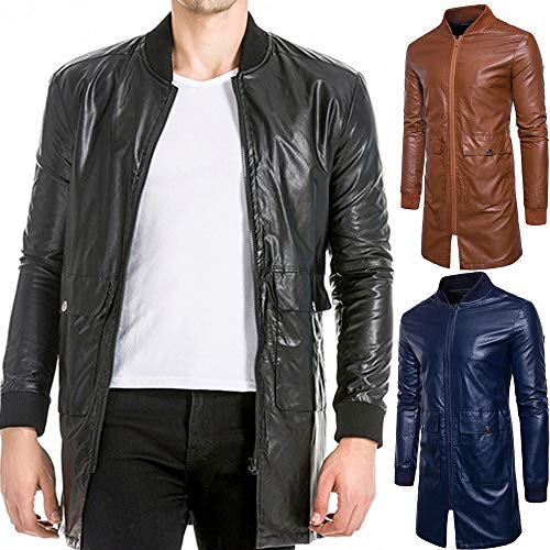 Black Long Pocket Long Coat Coat Casual Overcoat Leather Leather Leather Men's Jacket Fashion Fashion Mens Leather Autumn Winter Tomatoa Imitation Pure Zipper Color Leather 0qgZ6Z