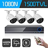 IHOMEGUARD 8-Channel Home Security Camera System 1080N Video DVR Recoder with 4PCS Outdoor 720P HD 1500TVL Surveillance Cameras no Hard Drive