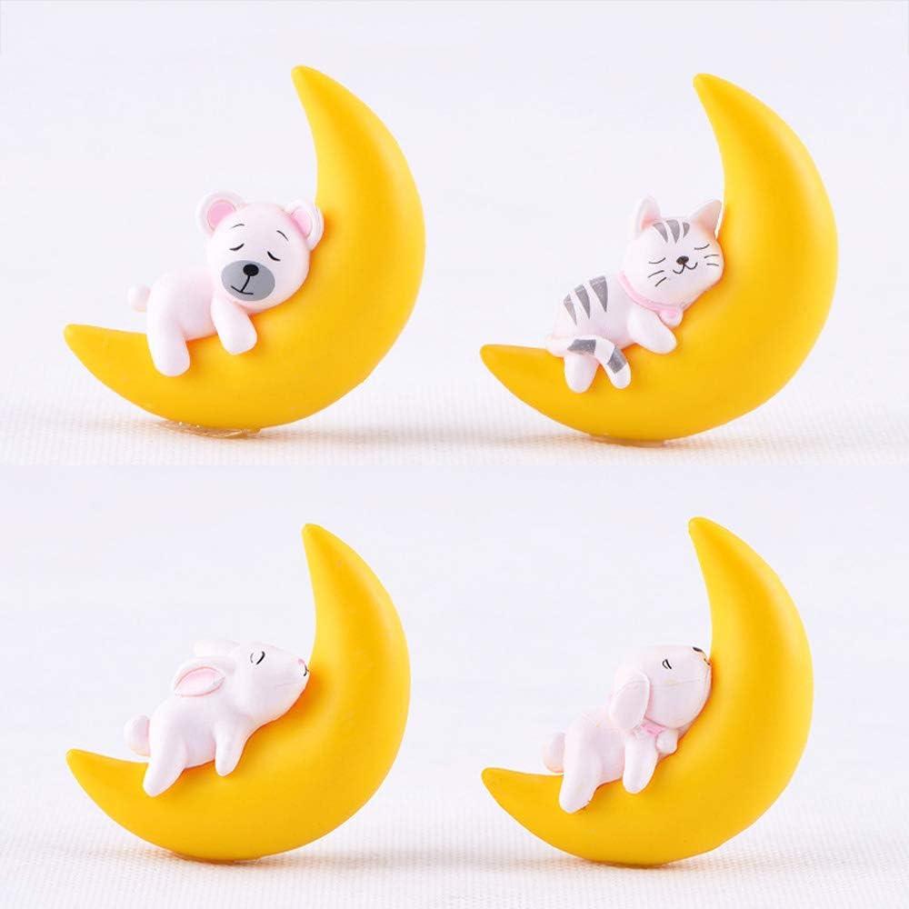 Fung 4Pcs Moon Cat Dog Rabbit Bear Figurine, Cute Miniature Fairy Garden Ornament Miniature Animal Model Modern Decoration Accessories