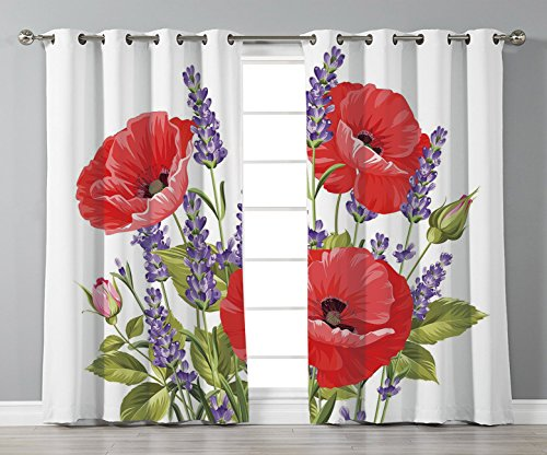 Stylish Window Curtains,Lavender,Bunch of Lavender and Poppy Flowers Fresh Rustic Botanical Bouquet Decorative,Red Violet Olive Green,2 Panel Set Window Drapes,for Living Room Bedroom Kitchen Cafe