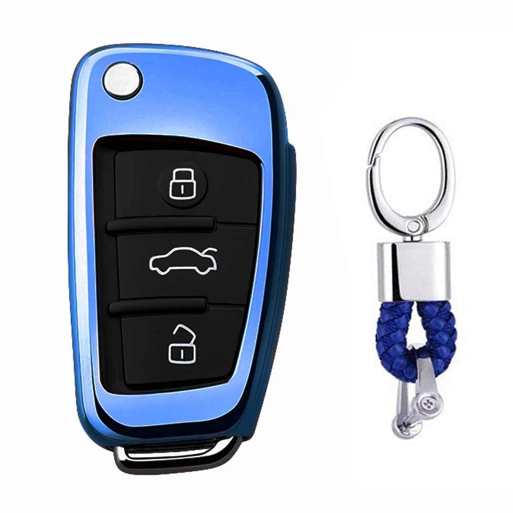 Azul Funda de TPU Suave para Llave + Llavero para Coche Audi A1 S1 A3 S3 RS3 A4 S4 RS4 A6 S6 RS6 Q2 Q3 Q5 Q7 TT TTS