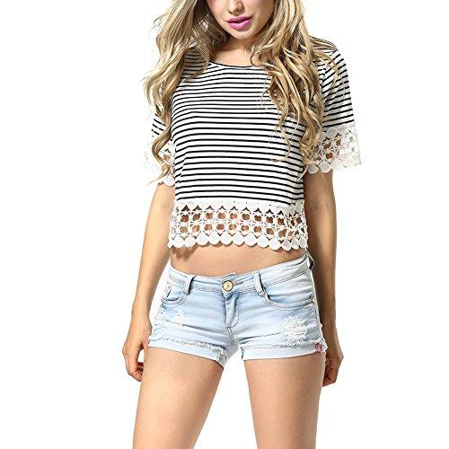 PanDaDa Crochet Striped T Shirt Sleeve