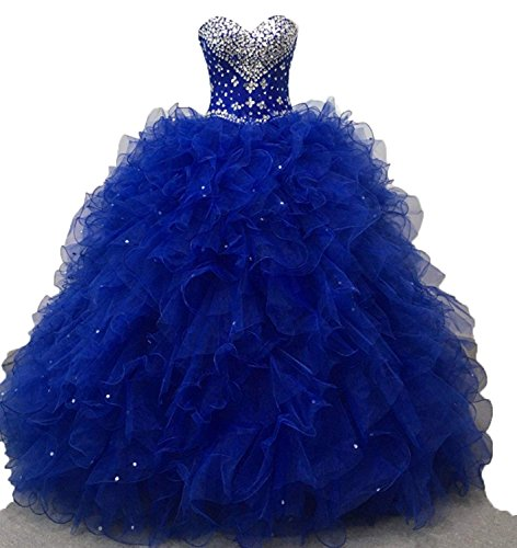 64007ecaa0f Shang Womens Sweetheart Quinceanera Dress Beads Ruffles Ball Gown Royal  Blue US 8