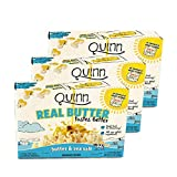 Quinn Snacks Real Butter Tastes Better - Microwave Popcorn Made With Grass-Fed Butter - Great Snack Food For Movie Night, Butter & Sea Salt, 6.8 ounce (3 Count)