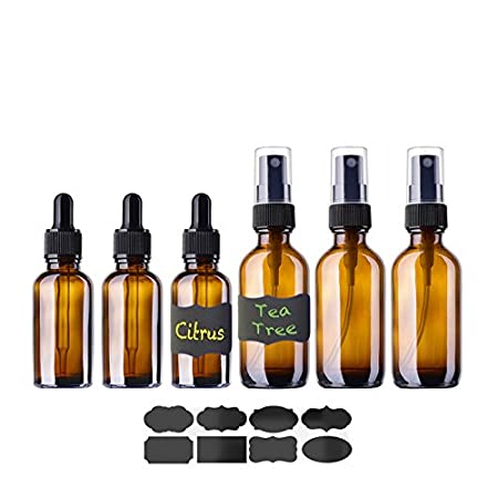 Essential Oil Bottles, 6 Piece Kit Glass Bottles with Chalkboard Labels, 3 x 2oz Fine Mist Sprayer, 3 x 1oz Glass Eye Dropper Bottles (Clear) RTWAY