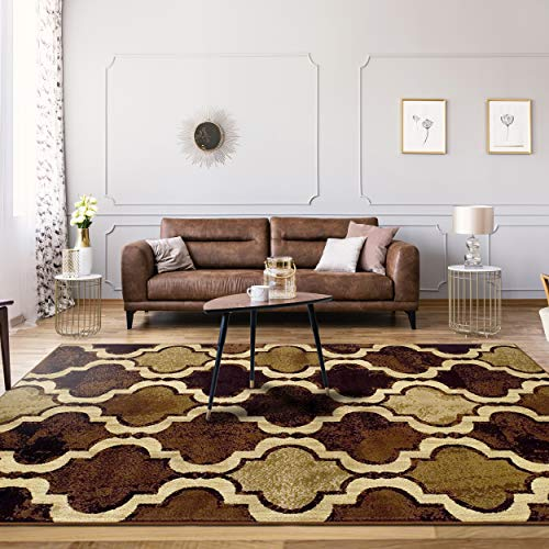 10'5' Contemporary Area Rug - Superior Modern Viking Collection Area Rug, 10mm Pile Height with Jute Backing, Chic Textured Geometric Trellis Pattern, Anti-Static, Water-Repellent Rugs - Coffee, 5' x 8' Rug