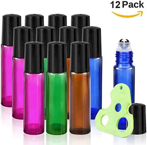 Olilia Glass Roll on Bottles with Metal Roller Balls - Essential Oils Key included 12 Pack of 10ml(1/3oz) (Mixed Color - Black Lids )