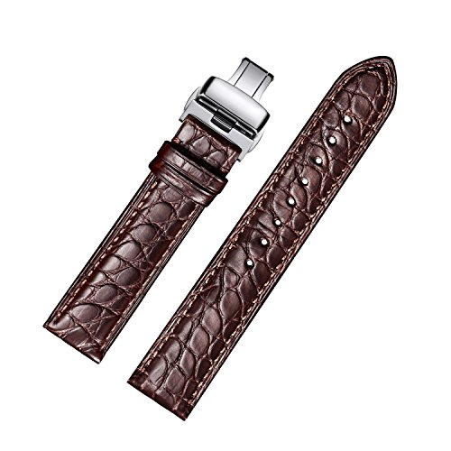 Crocodile Watch Strap (EHHE ZPF Alligator Replacement Leather Watch Band With Deployment Buckle for Men and Women 18mm-24mm)