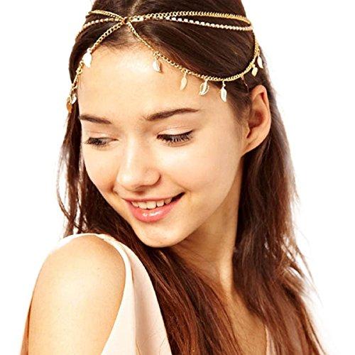 Baishitop Women Multi-Leaf Pendant Tassel Hair Band, Retro Fashion Head Chain (Cleopatra Headpiece Diy)