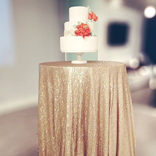Champagne Sequin Tablecloth Available Gold product image