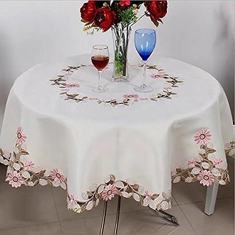 shinemoon Daisy Blumen Bestickt handgefertigt Home Outdoor Party Tischdecken Off Weiß Rund Tischdecken