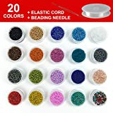 2mm Glass Seed Beads - Small Round Craft Bead Kit for Making DIY Bracelets, Necklaces, Earrings, Key Chain, Kids Jewelry 20 Colors, Apprx 20000 Pcs Colorful Tiny Beads with Beading Cord & Needle