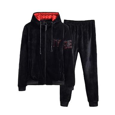 RingBong Mens 2pcs Set Lounge Pleuche Pocket Zip Hood Sport Sweat Suit Set