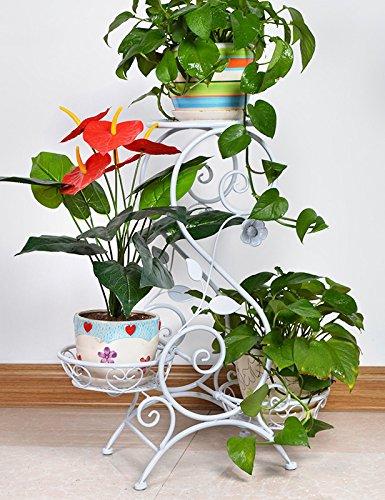 XYZ Europäische - Stil Eisen Antique Boden Blumentopf Regal hält 3-Blumentopf für Indoor, Balkon, Wohnzimmer Empfindlich haltbar ( farbe : Weiß )