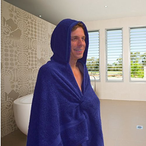"""Cabana Blue"" - Large Hooded Towel - Navy Blue Cotton (70""x40"")"