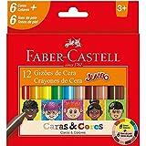 Gizão de Cera, Faber-Castell, Caras & Cores, 141112CC, 6 Cores + 6 Tons de Pele