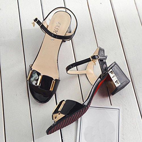 Spiaggia Bocca Alla Longra Sandali Cinturino A Caviglia Scarpe Tacco Medio Con Fibbia Nero E Aperta Da Moda Romani Donna 7w8g7q1nT
