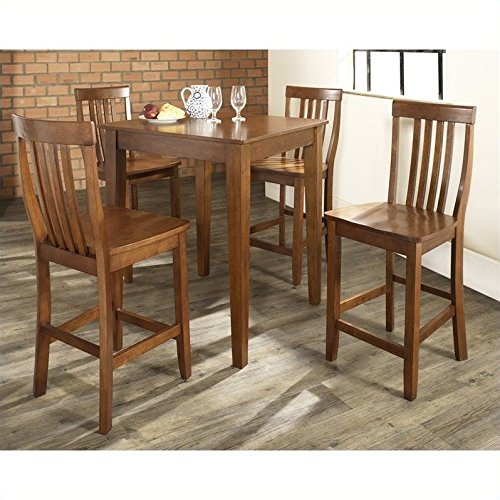 Crosley 5-Piece Pub Dining Set with Tapered Leg and School House Stools, Classic Cherry Finish