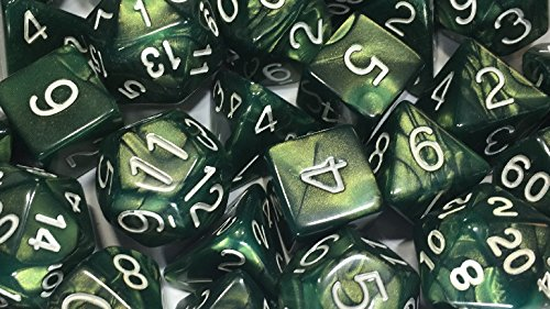Role 4 Initiative Set of 15 Large High-Visibility Polyhedral Dice: Emerald Dragon Shimmer with White Numbers (3d4 4d6 2d8 1d10 1d% 1d12 3d20) ()