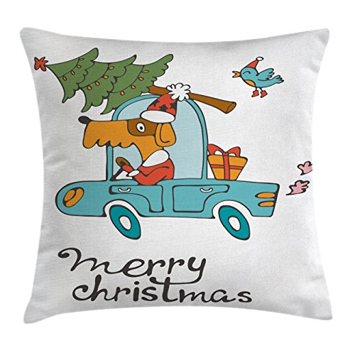 Country Themed Dance Costumes (Christmas Throw Pillow Cushion Cover by Ambesonne, Blue Vintage Car Dog Driving with Santa Costume Cute Bird Tree and Gift Present, Decorative Square Accent Pillow Case, 18 X18 Inches, White Multi)