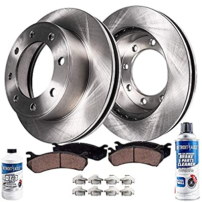 Detroit Axle - Pair (2) Front Disc Brake Rotors w/Ceramic Pads w/Hardware & Brake Cleaner & Fluid for 2009 2010 2011 2012 2013 2014 2015-2017 Dodge Ram 2500 - [2009-2017 Ram 3500] - 2012 Ram 1500