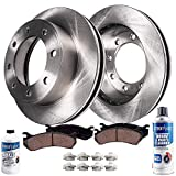 Detroit Axle - Pair (2) Front Disc Brake Rotors w/Ceramic Pads w/Hardware & Brake Cleaner Fluid for 2005 2006 2007 2008 2009 2010 2011 Ford F-250 F-350 4WD 4x4 SINGLE REAR WHEEL