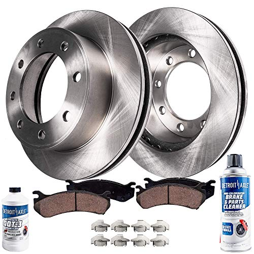 Detroit Axle - Pair (2) Rear Disc Brake Rotors w/Ceramic Pads w/Hardware & Brake Cleaner & Fluid for 2003 2004 2005 2006 2007 2008 Dodge Ram 2500 3500 SRW DRW - [2006-2008 Ram 1500 Mega Cab]