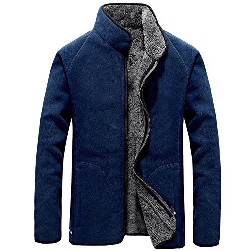 Classica m Con Uomo Da blue Caldo Lavoro Pile Casual Cappotto a In Giacca Addensato Formale Cerniera A8gqfZ