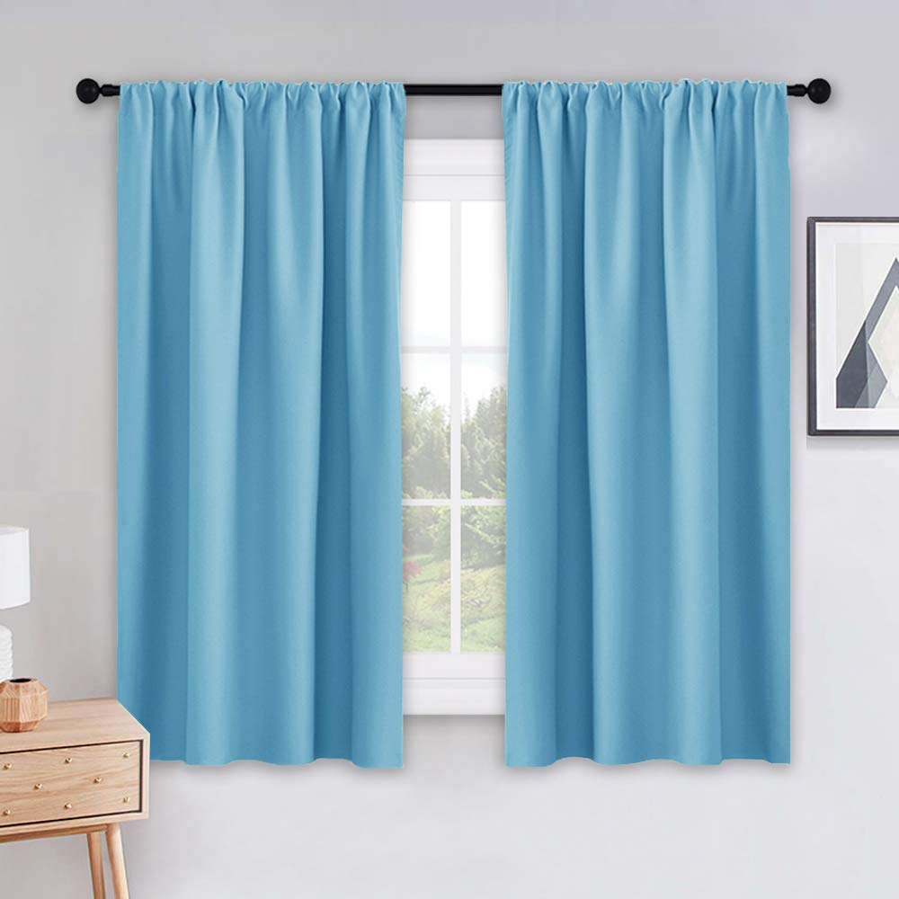 PONY DANCE Blackout Curtains Set - Window Treatments Rod Pocket Draperies Energy Efficient Light Block Curtain Panels for Kids' Room Kitchen & Bathroom, W 42 by L 45 inches, Blue Mist, 2 Pieces