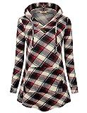 Timeson Hooded Sweatshirt, Women's Casual Long Sleeve Soft Lightweight Pullover Sweatshirt Hoodies for Christmas Red Beige Medium
